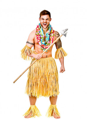"""Hawaiian Party Guy/Warrior Costume - will fit up to waist size 40"""" or 102cm"""