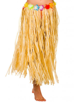 Hawaiian Long Plain Grass Skirt with Flowers