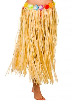 Hawaiian Long Plain Grass Skirt with Flowers