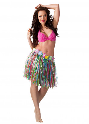 Hawaiian Short Multi Grass Skirt With Flowers - will fit up to waist size 40