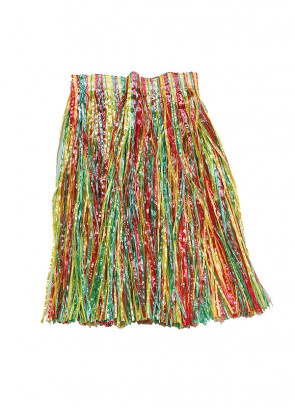 """Hawaiian Short Grass Skirt (Multi-Coloured) - will fit up to waist size 36"""" or 92cm"""