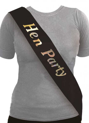 Hen Party Sash - Black/Holographic (10 pack)
