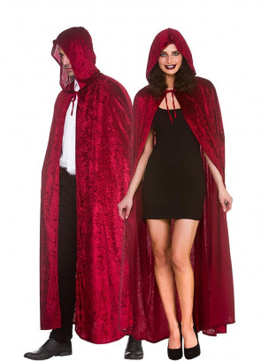Deep Red Velvet Hooded Cape