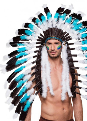 Indian Snow Wolf Headdress with Feather Tails