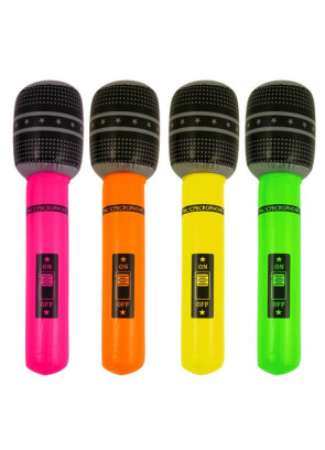 Inflatable Microphone - Assorted Colours 66cm