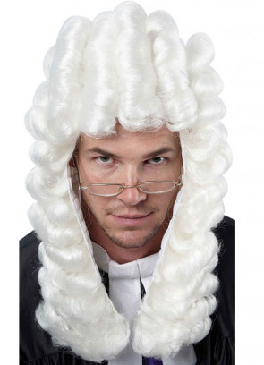 Judges Wig - White realistic rolled curls