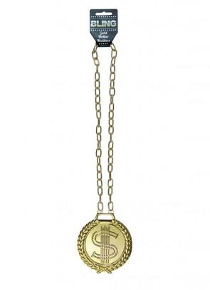Jumbo Metal Gold Dollar Medallion 11cm with Chain