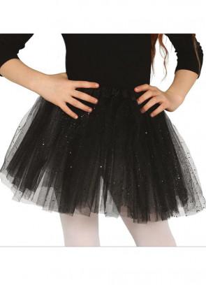 "Kids Black Glitter Tutu - Age 3-8 - Waist 16""-28"""