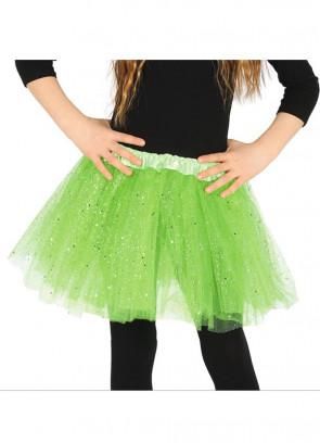 "Kids Bright Green Glitter Tutu - Age 3-8 - Waist 16""-28"""
