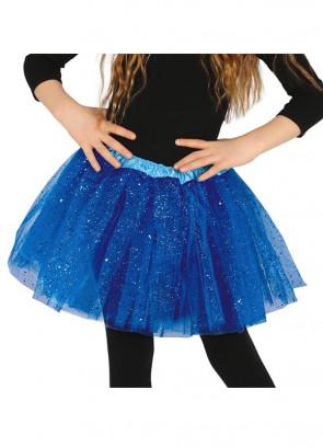 """Kids Electric Blue Glitter Tutu - Age 3-8 - Waist 16""""-28"""""""