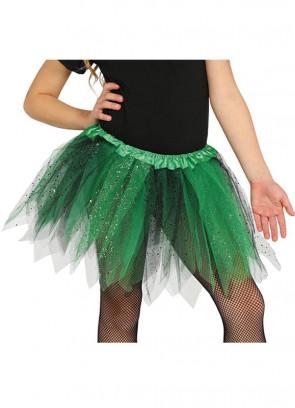 "Kids Green and Black Glitter Tutu - Age 3-8 - Waist 16""-28"""