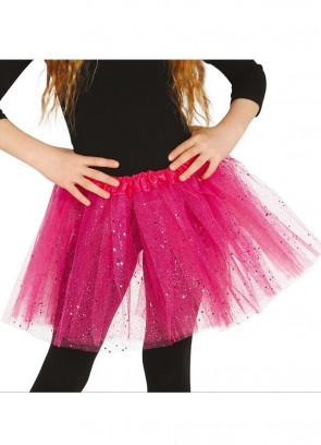 "Kids Hot Pink Glitter Tutu - Age 3-8 - Waist 16""-28"""