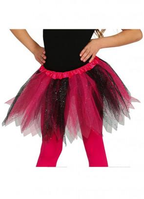 "Kids Pink and Black Glitter Tutu – Age 3-8 - Waist 16""-28"""