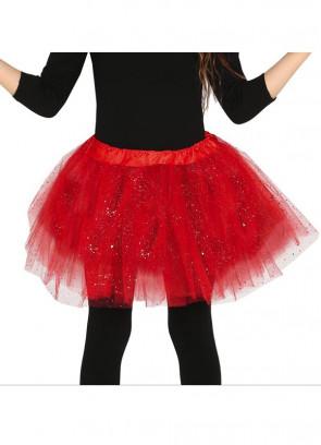 "Kids Red Glitter Tutu - Age 3-8 - Waist 16""-28"""