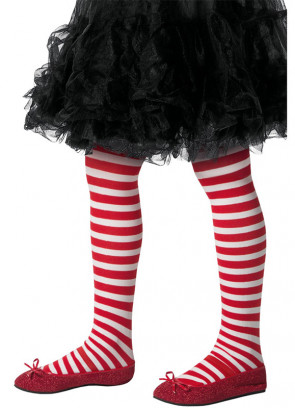 Red and White Striped Tights – Kids