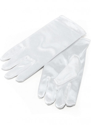 Kids White Thick Satin Gloves