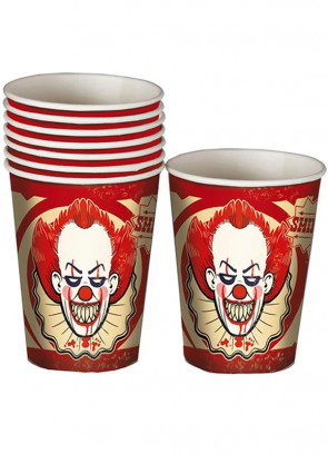 Halloween Killer Klown Paper Cups 25cl - 8pk