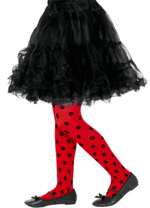 Ladybird Tights – Red with Black Dots – Kids age 7-12 130cm-150cm