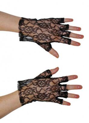 Gloves Short Fingerless Lace (Black)