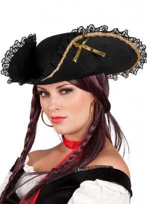 Glamorous Ladies Black and Gold Pirate Hat – Bicorn