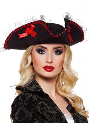 Ladies Black Ruched Pirate Hat – Tricorn