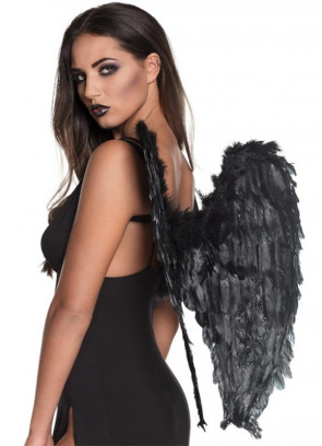Angel Wings Black (Pointy Feather Large) 65cm x 65cm