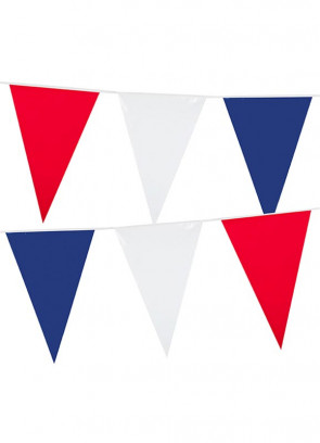Large Red, White and Blue Triangular Plastic Bunting 10m