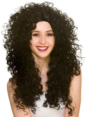 80s Long Curly Black Perm Wig