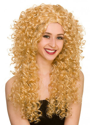 80s Long Curly Blonde Perm Wig