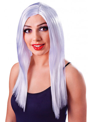 "Long 18"" Wig White"