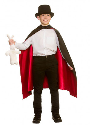 Classic Black Satin Magician's Cape with Red Lining - Kids