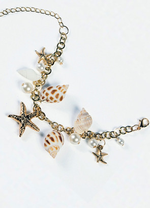 Mermaid-Golden-starfish-and-shell-clasp-Bracelet