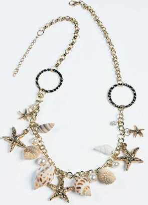 Mermaid Golden-starfish-and-shell-clasp-Necklace