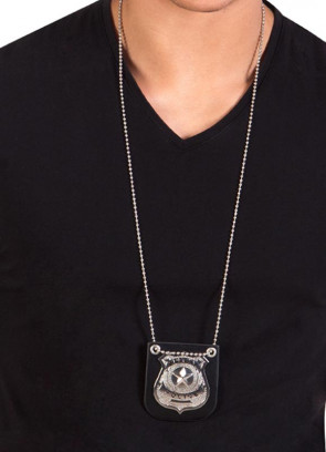 Metal Special Police Badge on Chain Lanyard