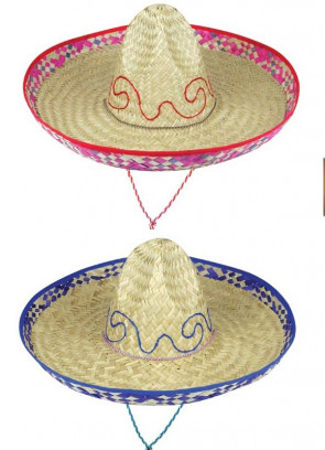 Mexican Sombrero Hat - Patterned Natural Straw 48cm