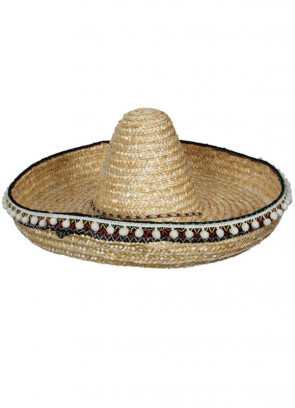 Mexican Sombrero with Tassels - Natural Straw 46cm
