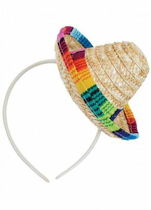 Mini Sombrero on Headband - Natural Straw 16cm