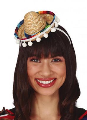 Mini Sombrero with tassels on Headband - Natural Straw - 14cm