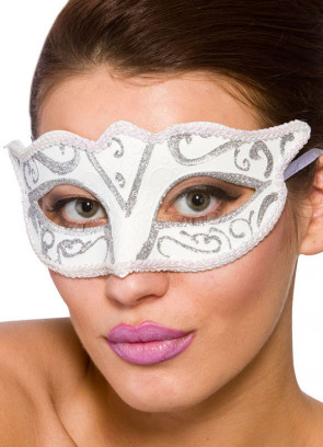 Calypso Eye Mask - White & Silver