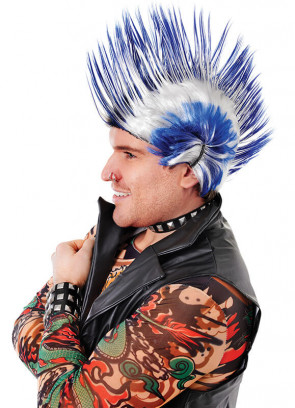 Mohican (Blue/White) Wig