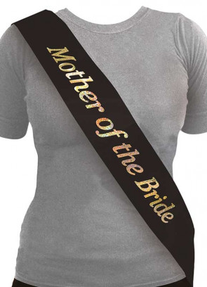 Mother of the Bride Sash - Black/Holographic