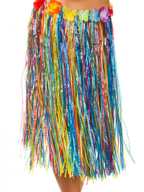 """Hawaiian Short Multi Coloured Grass Skirt with Flowers - will fit up to waist size 40"""" or 102cm"""