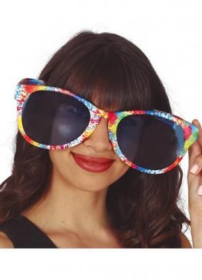 Multicoloured Paint Splattered Giant Glasses
