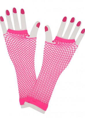 80s Fishnet Gloves (Neon Pink)