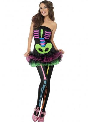 Ladies Neon Skeleton Tutu Costume