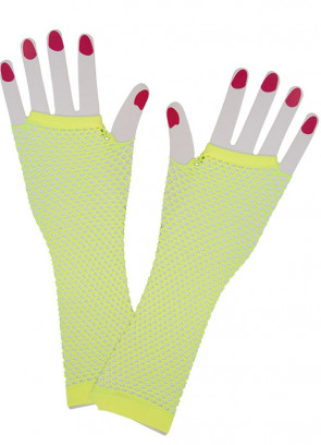 80s Fishnet Gloves (Neon Yellow)