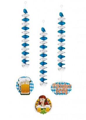 Oktoberfest Bavarian Swirl Ceiling Decorations - Double Sided – 3pk