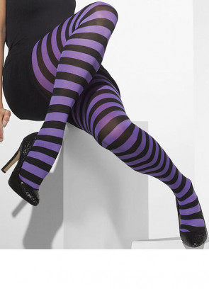 Purple & Black Opaque Striped Tights - Dress Size 6-18