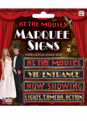 At the Movies Pack of 4 Marquee Signs