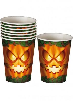 Halloween Petrifying Pumpkin Paper Cups 25cl - 8pk